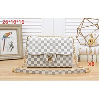 LV tide brand female chain bag shoulder bag Messenger bag white check