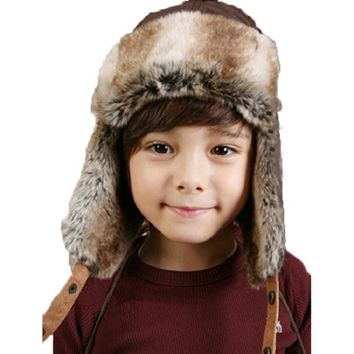 7b15d75d55b Kids Bomber Hats Fashion Winter Ski Fur Trapper Hat With Ear Flap Boys Lei  feng s cap