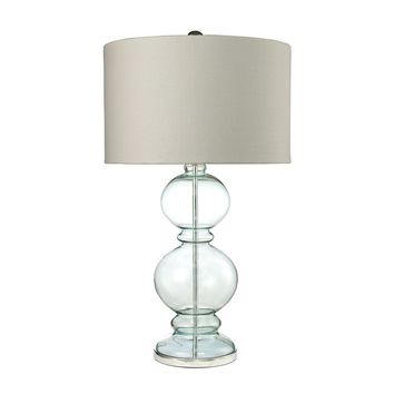 Curvy Glass Table Lamp in Light Blue With Textured Linen Shade Clear Light Blue,Polished Chrome