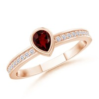 14K Rose Gold Pear Garnet and Round White Sapphire Ring - SR0749G
