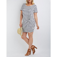 Plus Size Scoop Neck Knotted Dress