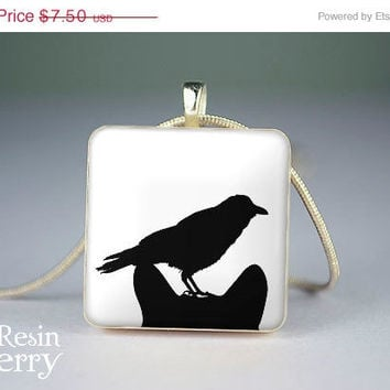 ON SALE: art scrabble tile necklace,crow and cat jewelry pendants,love resin pendants,black white- A0196SI