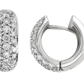 "14kt white gold pave diamond ""huggie"" hoop earrings 0.50 ctw G-VS2 quality"
