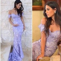 Sexy Off Shoulder Long Formal Evening Dress Mermaid Lace Pageant Party Prom Gown