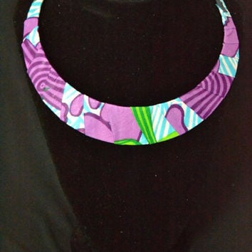Purpel and Green Ankara Necklace