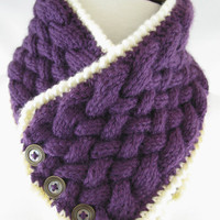 Basket Weave, Cream trim & 3 Vintage Button Neck Warmer - Perfectly Plum
