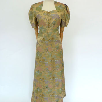 VINTAGE 1940s SILK BROCADE DRESS 12 14