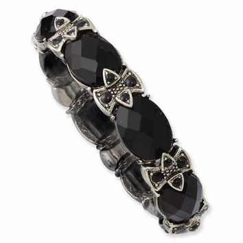Silver-tone Black Crystal and Enamel Stretch Bracelet