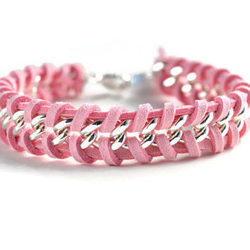 Pink Woven Silver Chain Bracelet, Light Pink Suede Woven Through a Single Chain, Pink Chain Bracelet, Chevron Chain Bracelet
