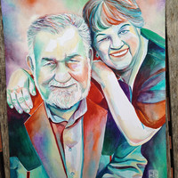 In MEMORY of PARENTS SPECIAL gift - Grandparents portrait - Parents portrait - custom portrait - in memory of husband - in memory of parents