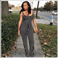 Sexy black with white stripes Jumpsuit