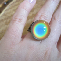 Mood Ring antique brass adjustable round