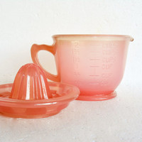 Pink Measuring Cup and Juicer, Vintage Juice Reamer, Pink Kitchen Glass, Barware,  Gift Idea, Pink Satin