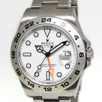 ** Rolex Explorer II Stainless Steel White Dial Mens 42mm Watch 216570 **