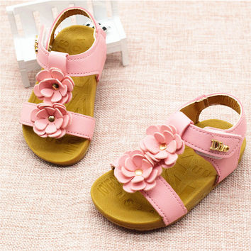 2017 Summer Baby Girls Sandals Fashion Flowers Kids Girl Sandals Soft Bottom Female Baby Princess Shoes