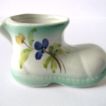 Porcelain Miniature Boot, Vintage Shoe, White, Blue, Aqua, Home Decor, Small, Flowers