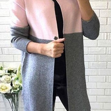 Pink and Gray Long Sleeve One Button Wool Coat