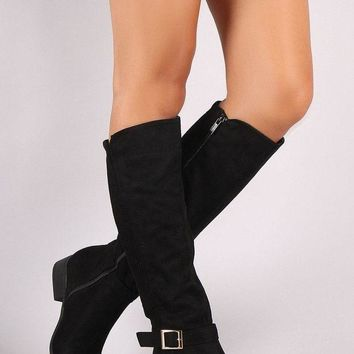 DCK7YE Bamboo Vegan Suede Ribbed Back Riding Boots