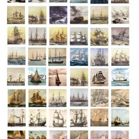 Sea adventures Sailing Ships boat ship COLLAGE SHEET 1 inch squares