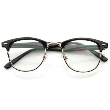 Vintage Clear Lens Half Frame Glasses + Gift Box