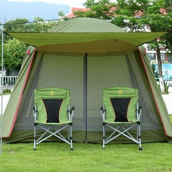High quality single layer ultralarge 4-8person family party gardon beach camping tent gazebo sun shelter mesh mosquito tent