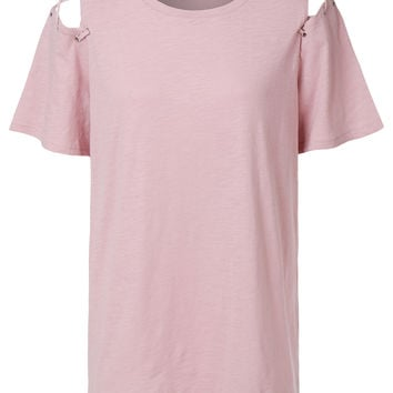 LE3NO Womens Oversized Criss Cross Cut Out Shoulder Short Sleeve T Shirt