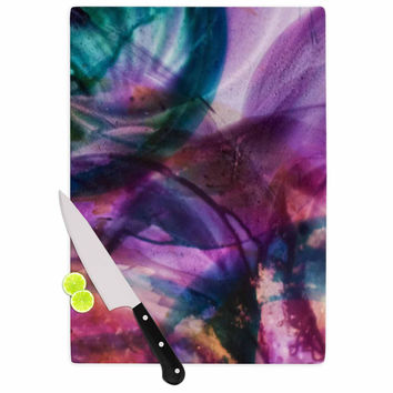 "Malia Shields ""Bubble Series #5"" Purple Multicolor Cutting Board"