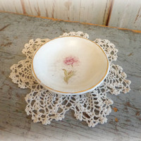 precious vintage butter pat with shabby chic pink rose / sweet cottage decor