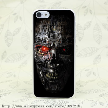 Terminator Genisys Robot Skull Face Hard Transparent Cover Case for iphone 4 4s 5 5s 5C SE 6 6s Clear Cell Phone Cases