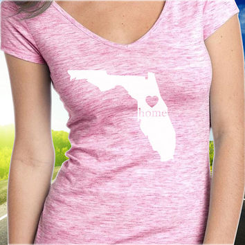 Florida Home T-Shirt - V-Neck - State Pride - Home Tee - Clothing - Womens - Ladies