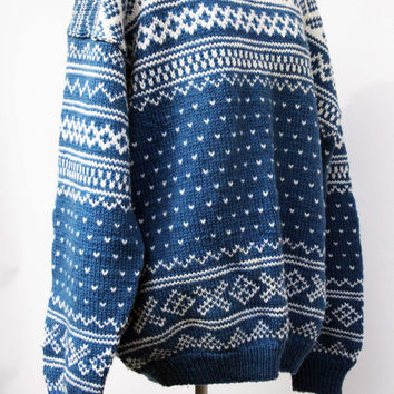 Mens Sweater Genuine Hand Knits from Norway NORSK HANDSERIKK AS Bergen Norway   Big Vintage Heirloom Nordic Design  Blue White l xl