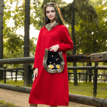 [AIGYPTOS-LZ] Autumn Winter Women National Trend Embroidery Pocket Novelty Personality Rabbit Fur Loose Red Knitted Long Dress