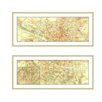 1937 Florence  City Plan Diptych Street Maps Italy Firenze Italia