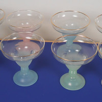 Vintage 8 Piece 1950s Clear Glass Dessert Cups with GOLD Trim and Colored Stem and Base
