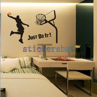 Basketball wall decal sports Wall decal  boys room wall decal  just do it