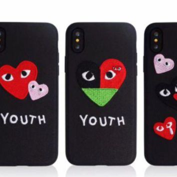 ac NOVQ2A Play Boy Heart embroidery love eye iPhone X iPhone8 soft shell
