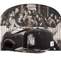 Cayler & Sons Break Bread Mickey Mouse Drake OVO 6 God Praying Hands Jesus The Last Supper Leonardo Da Vinci Design Black Hip Hop Baseball Cap Snapback Hat