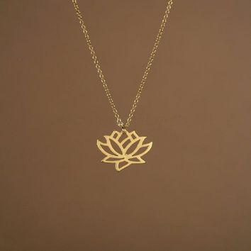 Rose Gold Plating Pure Lotus Pendant Necklace