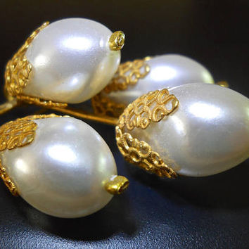 Large Faux Pearl Cluster Drop Brooch, Gold Tone, Filigree Caps, Germany, Vintage