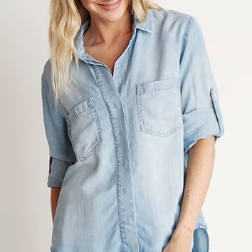 Bella Dahl Split Back Button Down Light Mist Wash