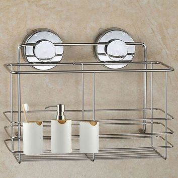 Bathroom Shower Shelf Non Rust Storage Suction Basket Caddy