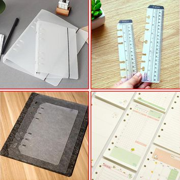 A5/A6 PVC Notebook Accessory Sheet Shell Office School Stationery 6 Hole Planner COVER Inner Pages Weekly Monthly Notepad 01708
