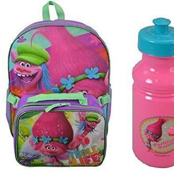 "Dreamworks Trolls Poppy & Copper 16"" Backpack w/Detachable Lunch Bag + Bottle"