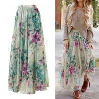 Womens Ladies Summer Floral Boho Chiffon Skirts Evening Long Maxi Skirt