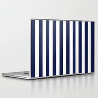 Stripe Vertical Navy Blue Laptop & iPad Skin by BeautifulHomes | Society6