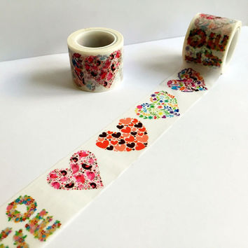 Beautiful 30mm*5m high quality washi paper tape Color valentine's heart and LOVE masking japan washi tape