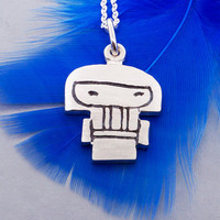 Kokeshi doll pendant, kokeshi necklace, sterling silver kokeshi doll
