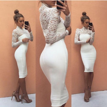 Turtle Neck Floral Cut Out Long Sleeve Lace Midi Bodycon Dress