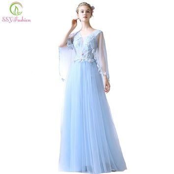 New Light Blue Evening Dress The Bride Elegant Banquet Lace Flower with Shawl Floor-length Prom Party Formal Gown