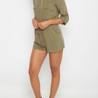 Light Olive Zip-Down Romper | Jumpsuits & Rompers | rue21